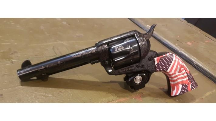 """Pietta 1873 Revolver 45 Long Colt Patriot Wood Engraved 5.5"""""""