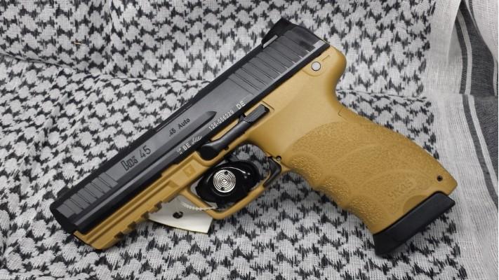 H&K HK45 FULL .45ACP Détente ''LEM'' Mire 3DOT - Noir/Tan Drab 2 chargeurs 10 coups - Autorisation Restreinte